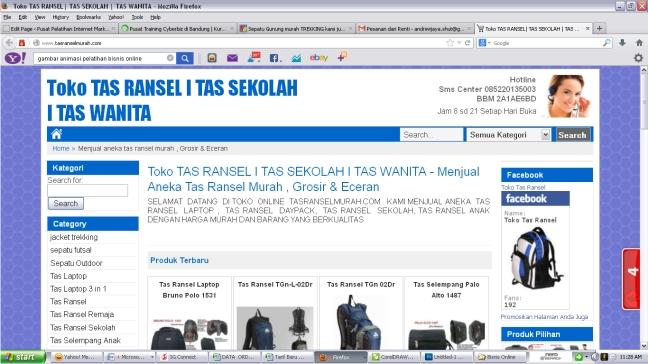 Kursus Privat Membuat Website toko online secara tatap muka / offline di bandungasranselmurahcom